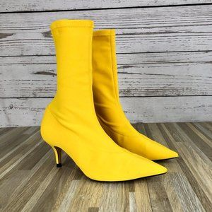 Zara Yellow Pointed Toe Sock Boots Size 38 or 7.5